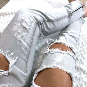 One Teaspoon Freebird Destroyed Skinny Zipper Jean